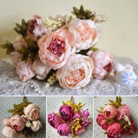 1Bunch Artificial Silk Peony Flower Leaf Wedding Bouquet Home Party Ornaments   162727076652