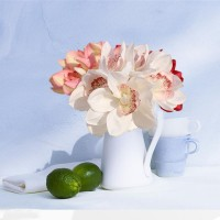 6 Heads Real Touch Latex Orchid Artificial Flowers White Wedding Bridal Bouquet   162528175552