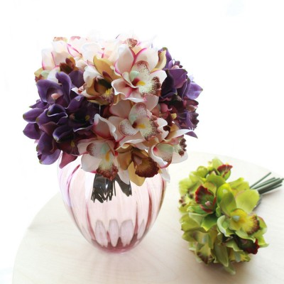 7 Heads Artificial Flowers Orchid Silk Flowers Wedding Bouquet Home Party Decor   162529447245