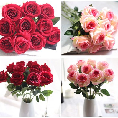 Artificial Fake Roses Flannel Flower Bridal Bouquet Wedding Party Home Decor   153140009429