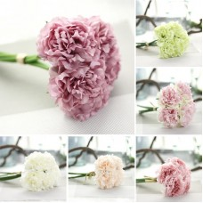 Home Decor 5Head Artificial Peony Floral Silk Fake Flower Wedding Bouquet Bridal   401573261281
