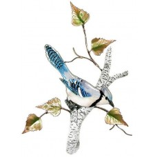 Blue Jay on Birch Metal Bird Wall Art Sculpture by Bovano of Cheshire #W4178   311657434019