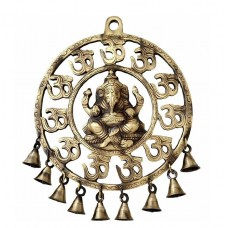 Om Ganesha Brass Wall Hanging With Bells Showpiece | Home Decor | | Wall Decor |   202351611446
