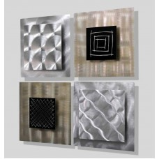 Set of 4 Abstract Silver & Black Wall Sculptures Metal Wall Art -Altered Reality   351027020894