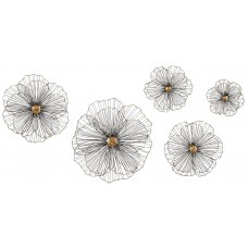 Set of 5 Trisha Yearwood Rustic Wire Hibiscus Wall Sculptures Dimensional Floral   302746949621