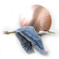 Small Flying Heron Bird w/ Large Copper Sun Metal Wall Sculpture by Bovano W407   252467901792