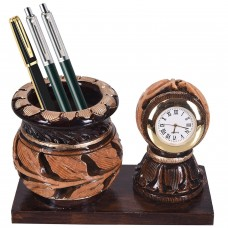 Pen Stand With Clock Dark Brown Antique Wooden Desktop Accessories   332763387675