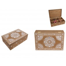 24cm Boho Style Wooden Trinket Box with Mandala Print & Jewels 9319844580007  323096134701