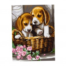 DIY Digital Canvas Oil Painting Kit Paint by Numbers Home Decor -Puppy Dogs   263292864447