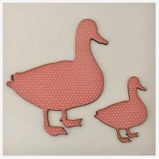 Duck Ducks Set of 2 Pink Pattern Wall Limited Edition Unique Handmade Bespoke   292476662219