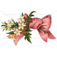 Furniture Decal Image Transfer Vintage French Paris Home Pink Bow Flower Floral   302602841986