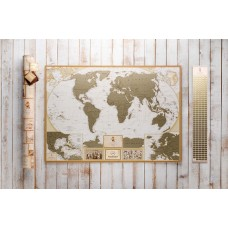 SCRATCH WORLD MAP 3 IN 1 MY MAP ANTIQUE EDITION (CARIBBEAN)  IN THE TUBE + GIFT   223103791235