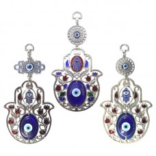 Turkish Blue Evil Eye Rose Flower Hamsa Hand Amulets Blessing Wall Hanging Decor   202373401560