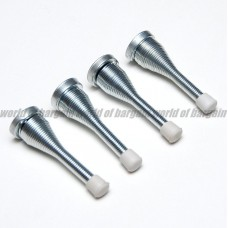 4x SPRING DOOR STOPPER STOPS Stop Nickel Finish Screw-On Doorstop Rubber Cap H59   323030783585