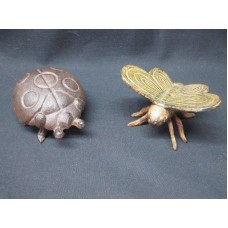 "Antique TWO Rustic Iron Metal 4"" LADYBUG and BUTTERFLY Doorstop or Paperweights   223100103268"