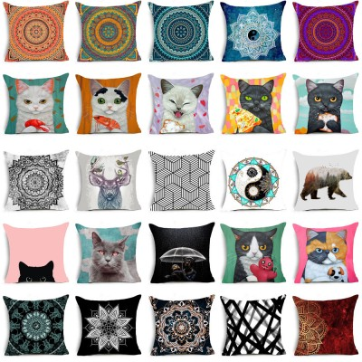 Cat & Mandala Polyester Decorative Pillow Case Sofa Cushion Cover Home Decor   263123532438