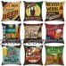 1PC New  Pillow Case Cushion Cover Beer Bottle Cotton Linen Creative Office   163202147791