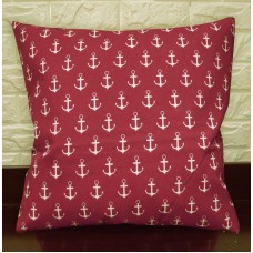 AL264a Pale Beige Dark Red Anchor Cotton Canvas Pillow/Cushion Cover Custom Size   322454907481
