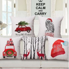 "Christmas Cushion Cover Cotton Linen Pillow Case Bed Car Sofa Home Decor 18x18""   401222691921"