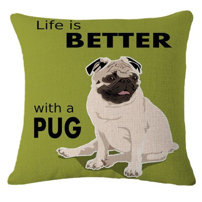Cute Pug Linen Cotton Cushion Cover Car Throw Pillow Case Home Decoration 6#   283104714642
