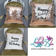 Happy Fucking Birthday Sequin Reveal Mermaid Cushion Gift | Funny Sequined Cover   222774699676