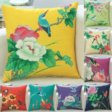 Mixed Color Floral Bird Cushion Cover Home Sofa Big Flower Print Pillow Case New   182529918438