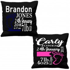 NURSERY DOB NAME CUSHION COVERS BABY GIRL BABY BOY NEWBORN NEW ARRIVAL BABIES   162871696550