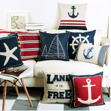 Navigation Navy Blue Nautical Shell Starfish Linen Pillow Marine Cushion Cover    192569963445