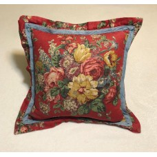 Red Floral Flower Pattern Throw Pillow Ralph Lauren-esque Denim Canvas Country   163202753859