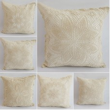 chic Vintage Hand crochet Pillow case Shabby Sham standard Floral White Picots   223103709926