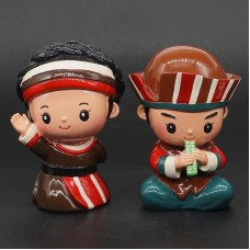 "A Pair Home Decor Ceramic Chinese Ethnic Minorities Ornament Crafts Statue 3""   253618957495"