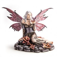 Fantasy Fairy Figurine Fairy in Flower Rock Pond With Tiny Dragon 9318051126206  362286875130