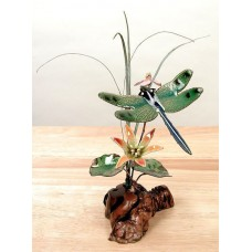 Green-Winged Dragonfly & Flowers Enameled Copper/Metal Sculpture by Bovano #FM12   311657433960
