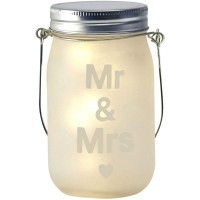 Mr & Mrs Glass Jar & Warm White LED Fairy Lights Hanging Wedding Table Lantern   122399391330