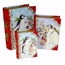 Set of 3 Punch Studio Nesting Book Box Boxes Christmas Penguins 43088 802126430880  292646516766