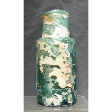 DECORATOR BOTTLE-Teal  Pontiled Utility Jar-Rolled Lip-Chippy Ground Patina-1840   372372529103