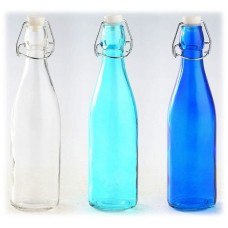 "Glass Bottle with Swing Top Ceramic Clasp Stopper Set/3 Clear Aqua Blue 10.5"" H  872602940905  372255242691"