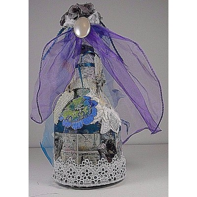 Shabby Chic Bottle Handmade Decorated w/laces, brooches, ribbons and bling   173420781584