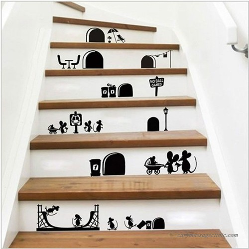 Wall Stickers Mice Decoration Cartoon Mouse Stairs Decals 656508519362 253667318096