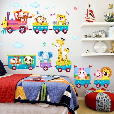 Animals Train Wall Stickers Nursery Decor Baby Kids Art Mural Removable   131932227425