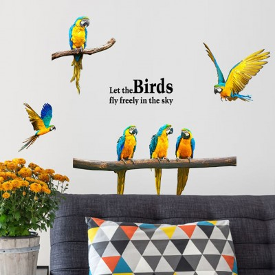 Beautiful Flying Parrot PVC Wall Sticker Birds Animal Kids Bedroom Decal   112493732772