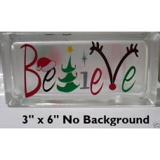 Cute Believe with Antlers Christmas Decal Sticker for Glass Block DIY Crafts   232584747672