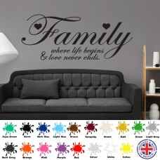 Family Where Life Begins - Wall Art Sticker Decal Quote Love Hearts Vinyl Home   191363083035