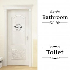 Removable Waterproof Bathroom Restroom Closestool Saying Toilet Door Decal Wall   162235261426