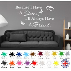 Sister Wall Sticker, Friend Quote, Wall Art Love, Best Friends Present Family   191119818949